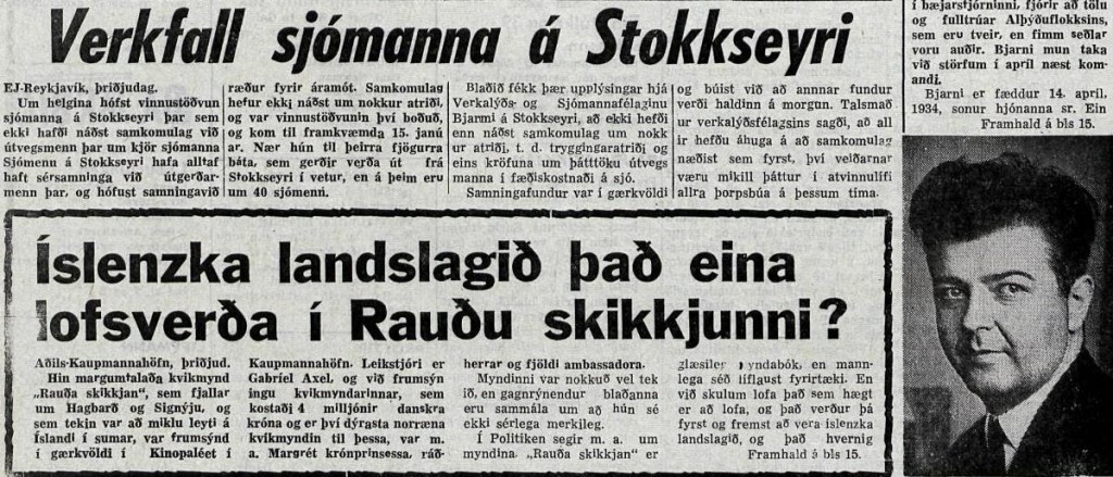 Úrklippa úr Tímanum í janúar 1967