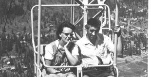 Bryndís og Guðmundur á ferð í kláf í Kerlingardal í Squaw Valley í  Kaliforníu 1963