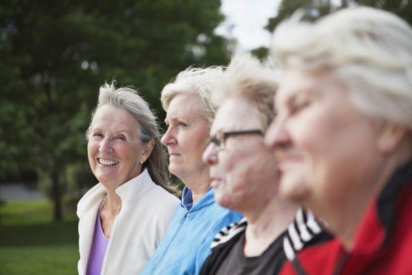 Close-up of senior women at park