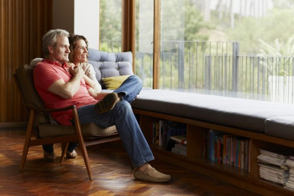 Thoughtful mature couple at home